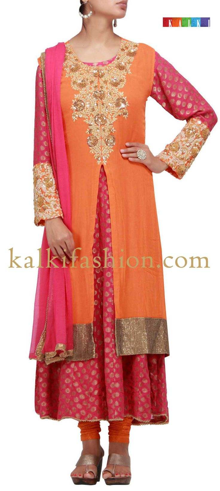 Buy it now  http://www.kalkifashion.com/two-piece-suit-in-orange-and-pink-with-sequence-and-french-knot-work.html  Two piece suit in orange and pink with sequence and french knot work