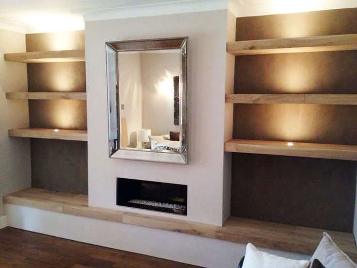 Solid Oak Shelves Lighting Finish E