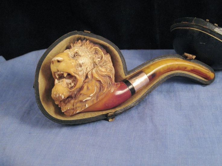 FIGURAL MEERSCHAUM LION DUNHILL GOLD AMBER PIPE BOXED EDWARDIAN ANTIQUE 1908