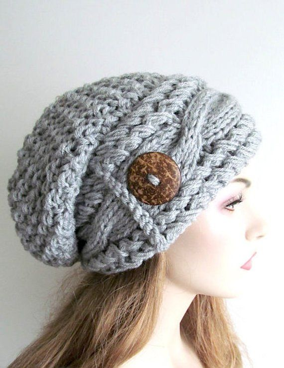 f8e5b1cb0c6989 Slouchy Beanie Slouch Cable Hats Oversized Baggy Beret Button womens fall  winter accessory Heather Grey Super Chunky Hand Made Knit