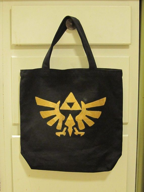 Legend of Zelda Tote  Hyrule Crest on Black Canvas by sneakycoon, $15.00: Games Inspiration, Crafts Ideas, Awesome Zelda, Legends Of Zelda, Black Canvas, Totes Bags, Zelda Totes, Inspiration Totes, Totes Hyrul