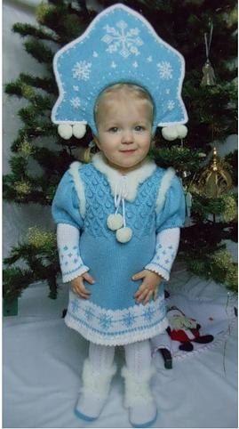 """Как связать своими руками детский новогодний костюм """"Снегурочка"""" / Мастер-класс"""