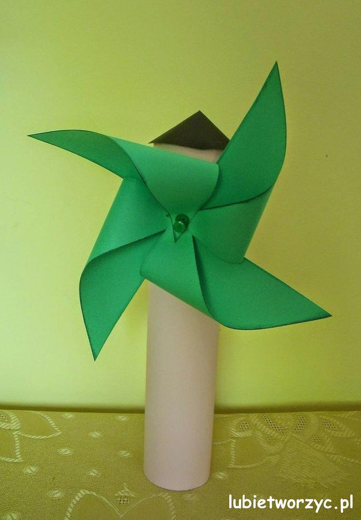Wiatrak z papieru i rolki po ręczniku papierowym   #wiatrak #zpapieru #rolkaporeczniku #przedszkole #windmill #papercraft #lubietworzyc #DIY #preschool #kindergarten #toiletroll