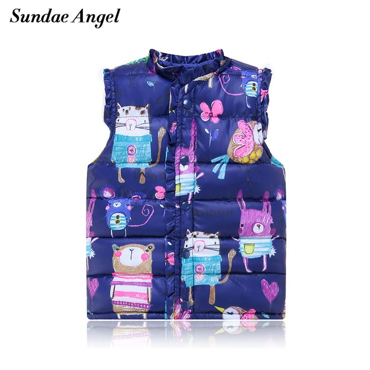 Sundae Angel Kids Baby Girl Vest Gilet O-Neck Sleeveless Outerwear Coats Print Graffiti Pattern Boy Vests Waistcoats Clothing