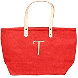 Cathy's Concepts Personalized Nantucket Jute Tote, Red, Letter T