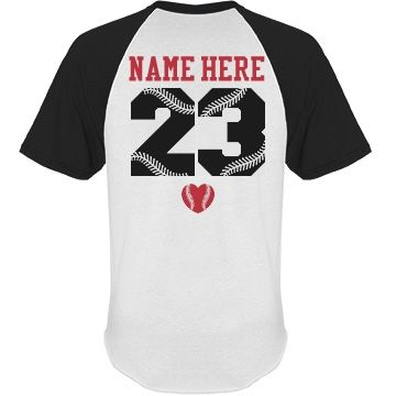 Personalize a baseball girlfriend raglan jersey t-shirt to wear to all your boyfriend's games. Baseball wives can wear them as well! Change the back name and numbers.