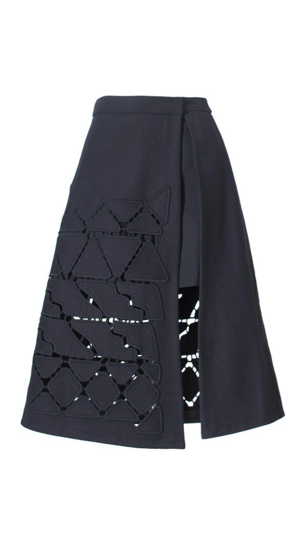 Tibi - Cutout Embroidery A-Line Skirt