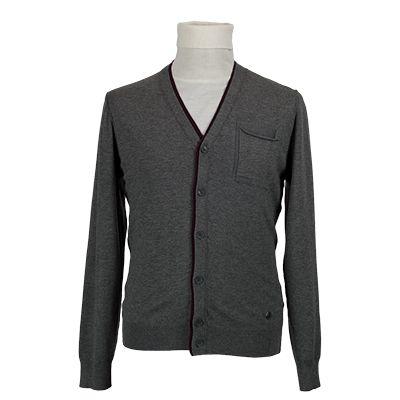 Cardigan con contrasti bordeaux - Grigio - Invernale. € 35,30. #hallofbrands #hob #maglia #sweater #jersey #knitwear #invernale #wintry #winter