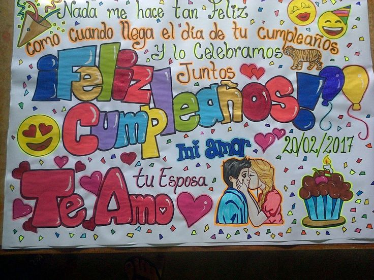 Pancarta de feliz cumpleaños! Contacto whatsapp 0414-9758612 #pancartas #love #cute #amor #estilo #original #crush