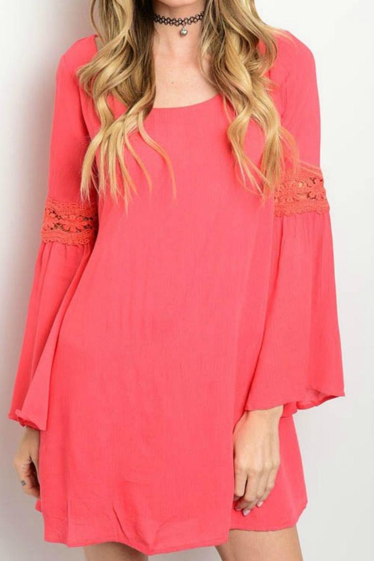 This salmon dress features bell sleeves with crochet lace detail.   Crochet Detail Dress by Shop The Trends . Clothing - Dresses Kentucky