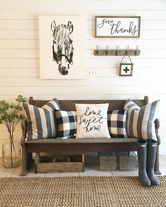 pipe and wood entry coat rack bench  entrance bench  foyer bench ...