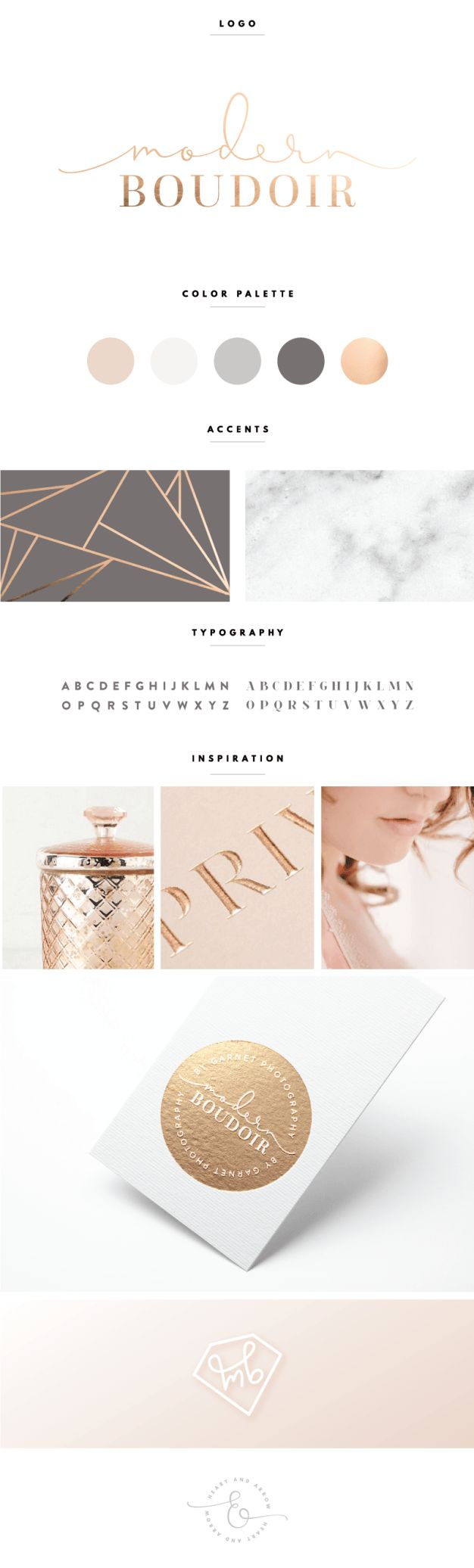 Rose Gold and Gray Brand Design | by Heart & Arrow // blog design brand board