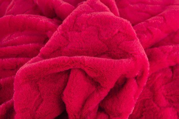 Fleece red fleece stars Fur red Fur stars by FabrictalesShop