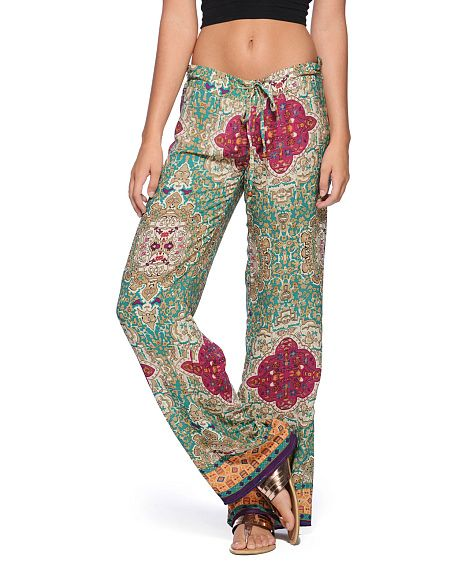 Olivaceous Persian Print Drawstring Pants