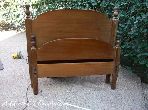 Benches Made From Bed Headboards | The first thing I did was use my sander to smooth out the finish, and ...