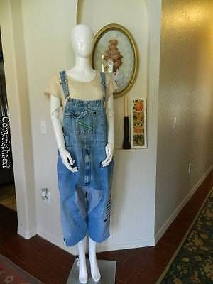 HEIRLOOMS OOAK magnolia patch recon vtg Key overalls pearl button closure