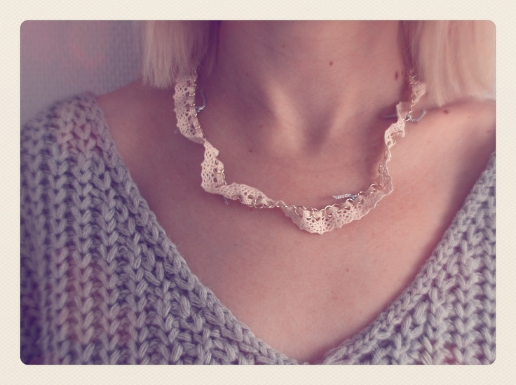 Pink Lace and Metal Handmade Necklace.  https://www.etsy.com/listing/112020733/pink-lace-and-metal-necklace