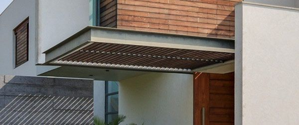 Architecture pergola steel canopy roof brick wall wooden - Modern wooden window designs ...