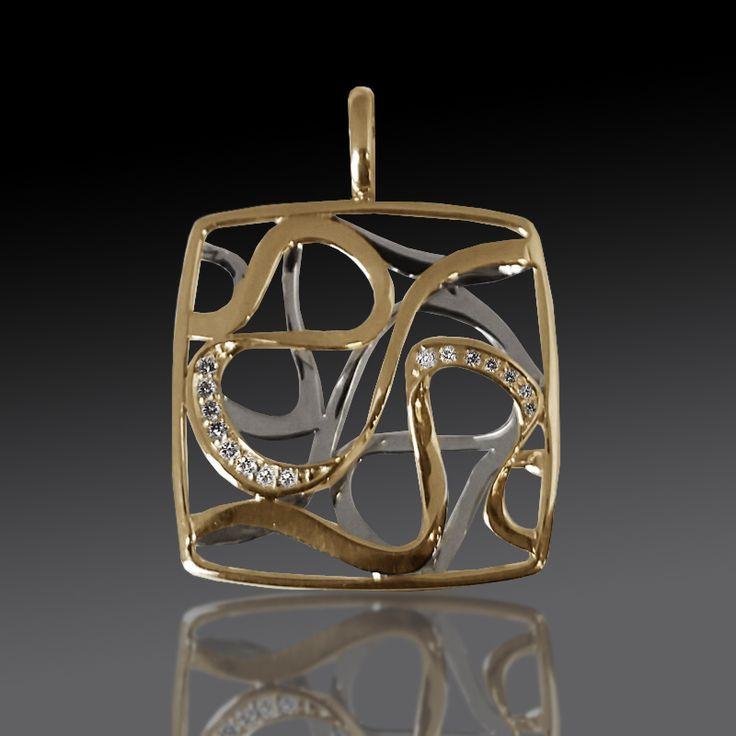 14 karat yellow and white gold ribbon pendant with diamonds