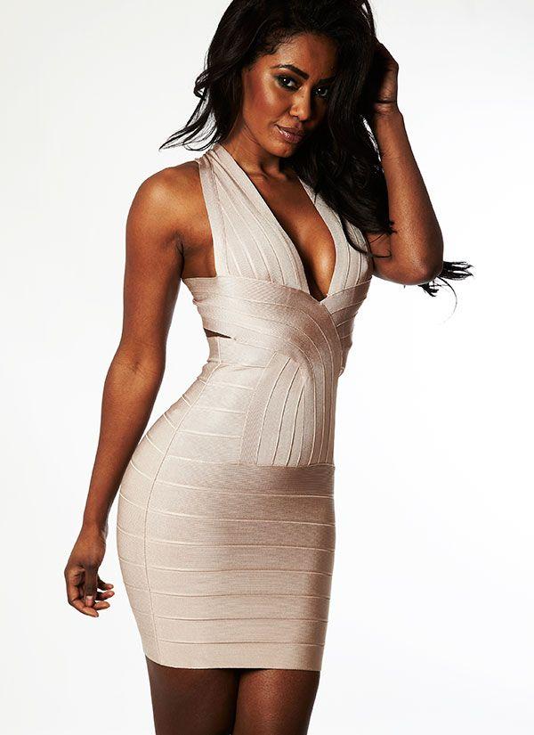 White bandage backless dress