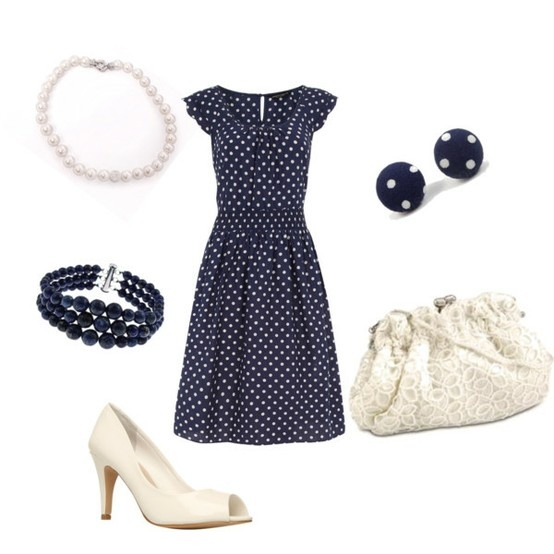 navy, white, polka dots, adorable.: Beautiful Ensembl, Polka Dots, Brunch Outfits, Style Clothing Oth, Wearable Things, Closet Ensembl, Bigger Closet And, Closet And Budget, Gone With The Wind