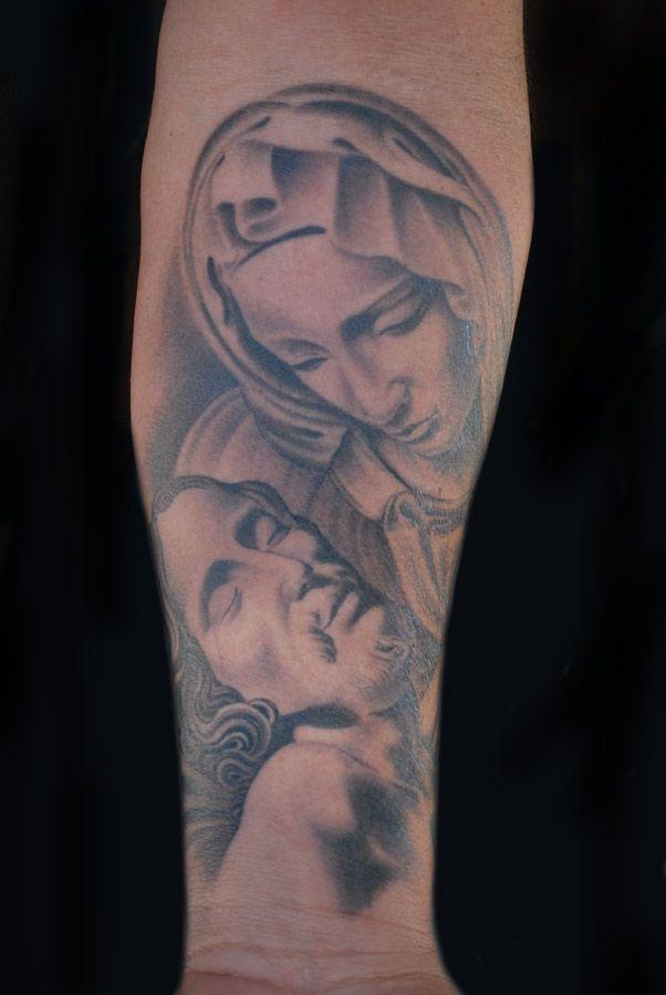 Virgin Mary and Jesus Tattoo by Luke Stewart