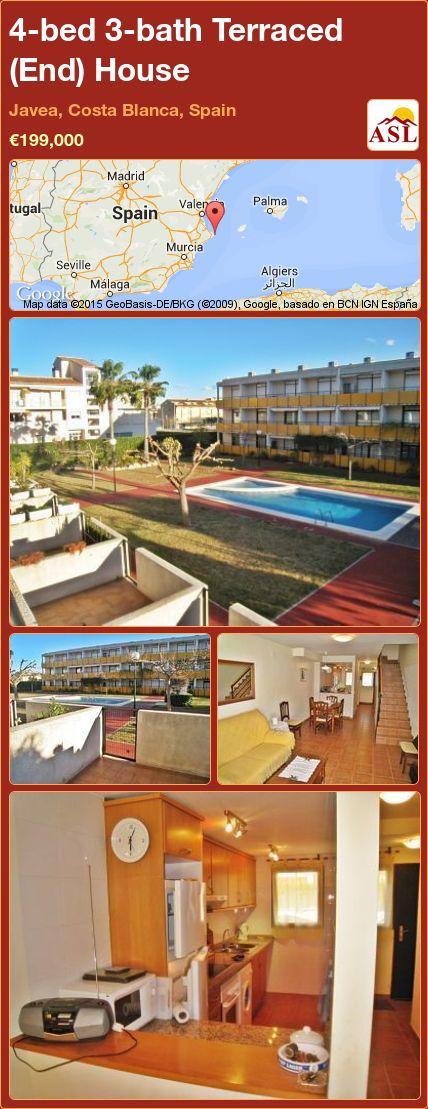 4-bed 3-bath Terraced (End) House in Javea, Costa Blanca, Spain ►€199,000 #PropertyForSaleInSpain