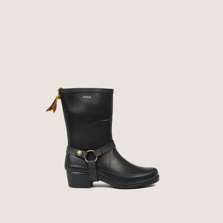 bottes caoutchouc noir miss julie femme - aigle 1