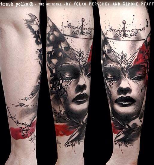 Tattoo by Volko Merschky Trash Polka - black and red tattoo