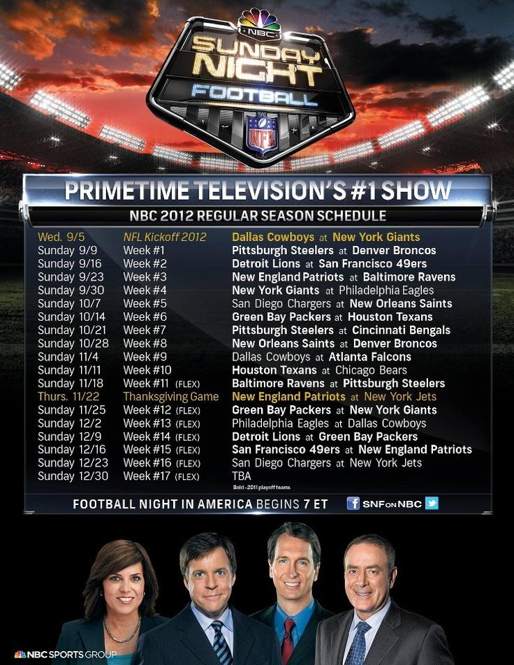 2012 SNF schedule
