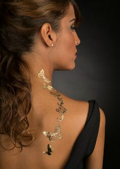 gold! real gold temporary tattoo. Butterflies Fluttering Up. Your. Back. Towards. Your. Neck