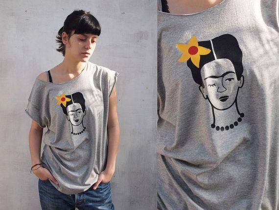 Frida Kahlo T-shirt/White/Black/ Melange grey/frida Kahlo print /boyfriend T-shirt/womanT- shirt/ FREE SHIPPING world wide