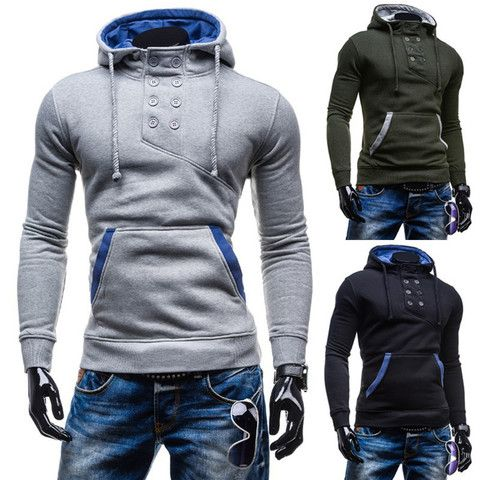 2016 Stylish Collar Button Hoodie – eDealRetail