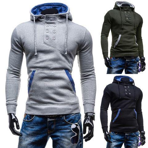 2016 Stylish Collar Button Hoodie – eDealRetail