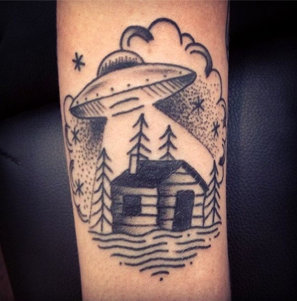 ufo and cabin tattoo