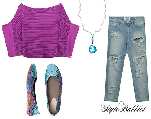 A great week starts with color. And a pair of ripped denim!  Shop your fall essentials and take advantage of our offers! #StyleBubbles #fashion #onlineshopping #oneteaspoon