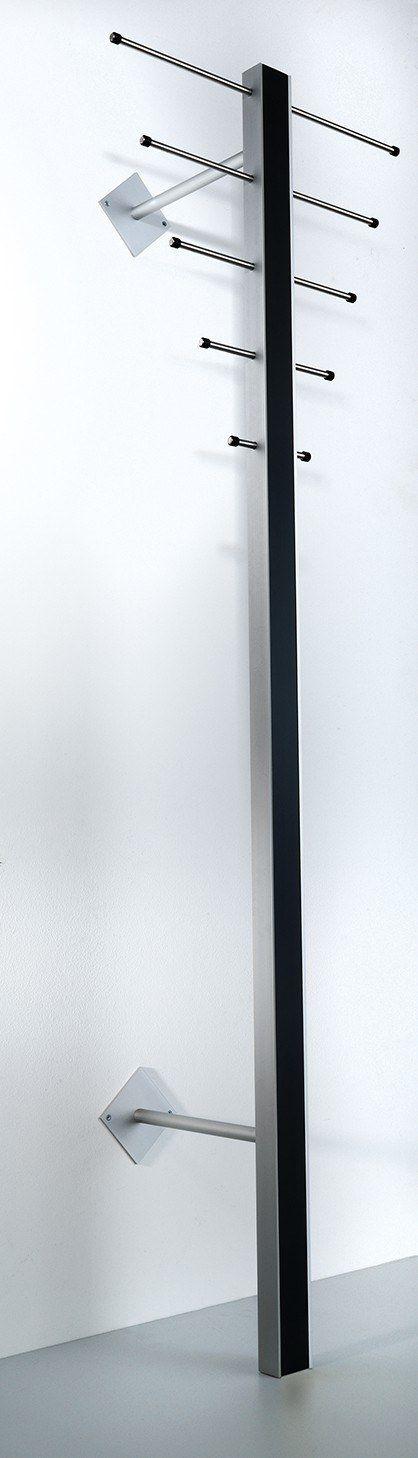 Milano ST-1 Stumtjener - Stumtjener i en  kombination af sort og aluminium. Ti knager og en bøjlestang til seks bøjler. Æstetisk og stilren stumtjener.