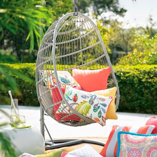 When your inner peace hangs in the balance, grab some alone time in the    made-for-one Wellfleet Egg Chair. Woven wicker frame features a cradled,    ultra-comfortable chair cushion and headrest pillow, so you can sink in and    tune out. For a gentle rocking motion, hang chair from a sturdy indoor or    outdoor beam, or from our powdercoated steel Hanging Base (sold    separately); also rests snuggly in our Sitting Base as a more stationary    choice. Grab a book, your headphones, or a ...