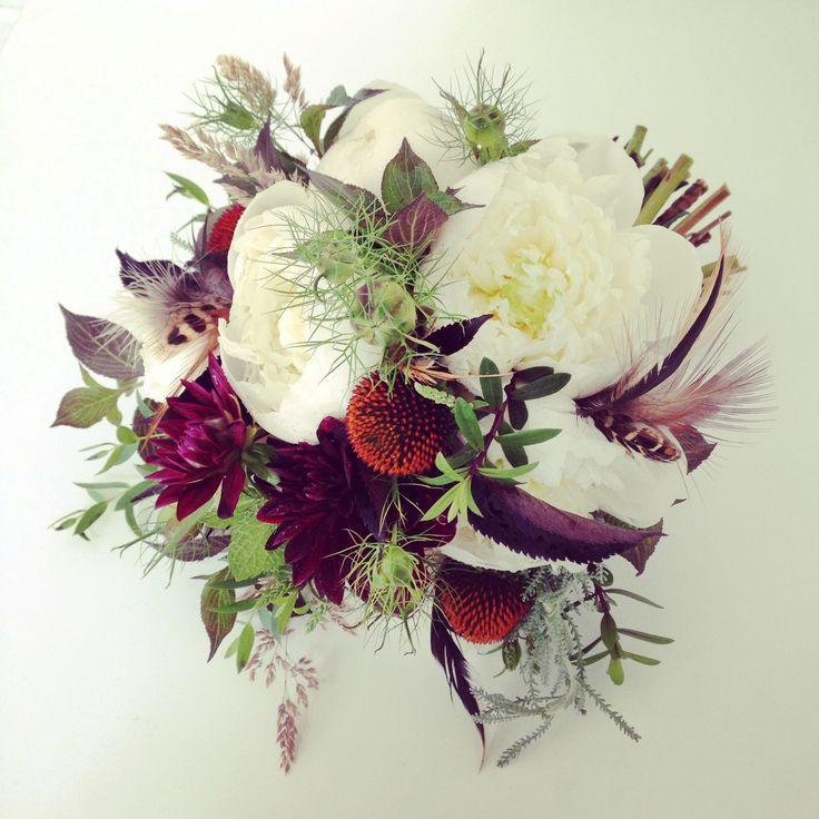 The Queensferry Flower Company. Peony, Dahlia, Nigella, Rudbeckia and feather Bridal Bouquet.