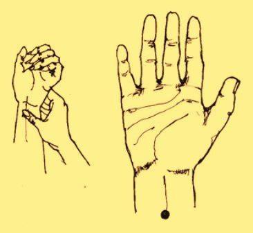 PUNTO 29: Se lo encuentra en la parte interior del antebrazo, a tres dedos de la unión de la muñeca con la mano, en línea recta con el dedo medio. Se lo presiona firmemente durante 90 segundos. Para : Dolor de Cabeza, Abdomen, Pecho, Manos, Muñecas, Brazos, Codos u Hombros, Cólicos Menstruales, Diarrea, Hipo, Insomnio, Mareos, Obesidad, Tos, Vértigo, Vómitos.