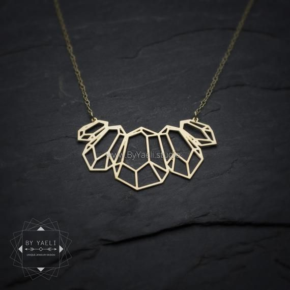 gold diamond necklace long necklace Gold gemstone necklace diamond shape necklace unique necklace geometric necklace gift under 50