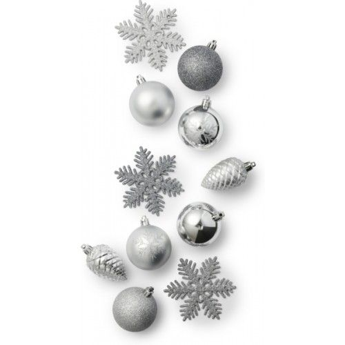 Joulukoristeita, 30kpl:n pakkaus, hopea
