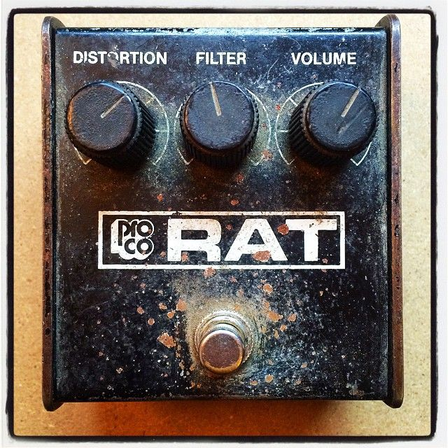 Pro Co RAT - Fuzz/Distortion Guitar Effects Pedal   I like how weathered and beat-up this pedal is. You can tell someone's used the shit out of this thing. Probably sounds as dirty as it looks.