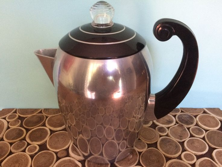 Wear-Ever Aluminum Stove Top Percolator - Vintage Coffee Maker - Art Deco Atomic Midcentury Modern Kitchen Small Appliances by 20thCKitchenAndTable on Etsy