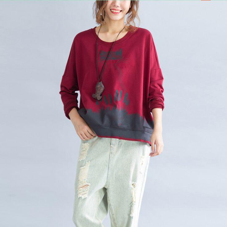 Plus Size Women's T-Shirt Cat Print Women O- Collar Pullover Long Sleeve Women Top Femme Loose Woman T-shirts Female Top Clothes
