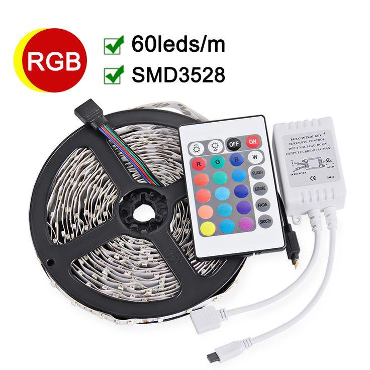SMD3528 RGB LED Stirp Light 5M 60LED/m Flexible LED Light DC 12V With 24keys IR Remote Controller High Quality Decoration Lamps