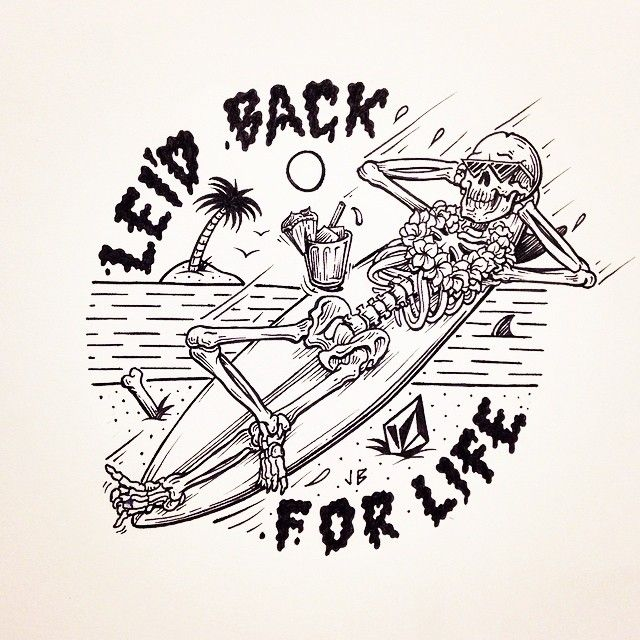 Have A Lei'd Back Weekend #jamiebrowneart #lei #leidback #comehang #chill #maitai #surf #relax #palmtree #skeleton #dead #cool #tropical #doom #hawaii #volcom #friday #weekend #lovemyjob #illustration #takeiteasy #beach #vibes #staychill #jb