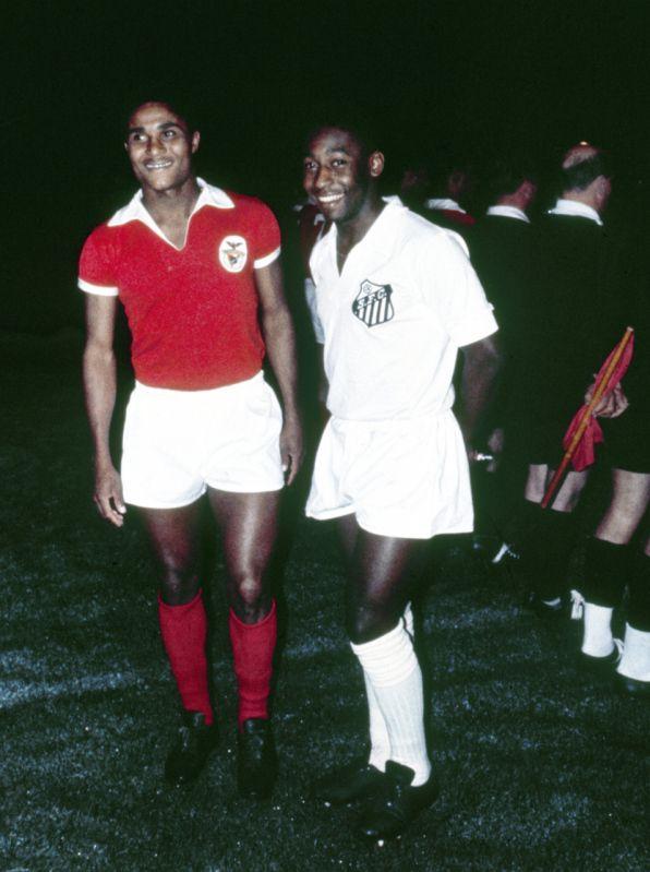 Jogadores Pele e Eusebio Equipes Santos e Benfica