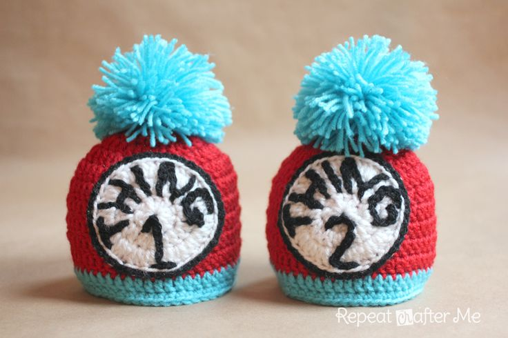 Repeat Crafter Me: Thing 1 and Thing 2 Crochet Hats