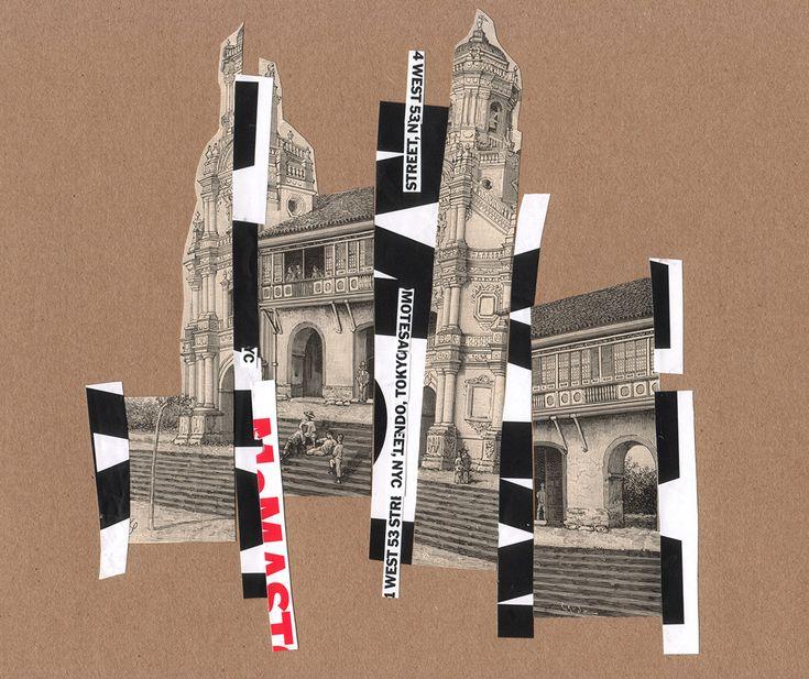 """Rodrigo Gárate Chateau. Parte de la serie """"PUNTO EN FUGA"""" (2015). Collages donde el punto de fuga se pierde en la perspectiva. Planos arquitectónicos se enfrentan intentando desprenderse de la necesidad de la tercera dimensión."""
